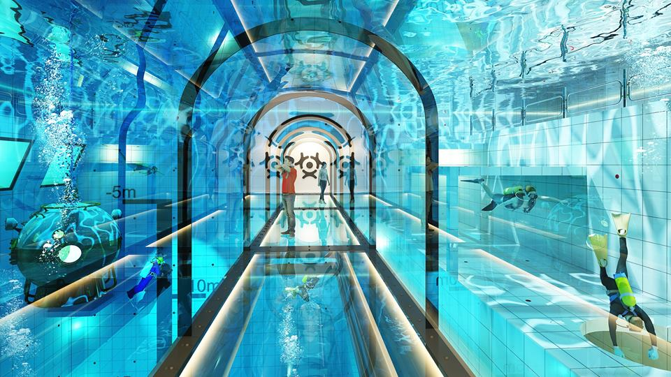 pool, swiming pool, deepest pool, dive, diving, scuba, extreme sports, sport, Poland, diver, Beginners, Athletes, Professional divers, Underwater tunnel, Conference rooms, training rooms, hotel rooms